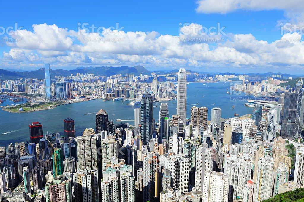 Hong Kong city under bule sky stock photo