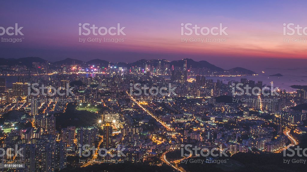Hong Kong Cityscape at Sunset stock photo