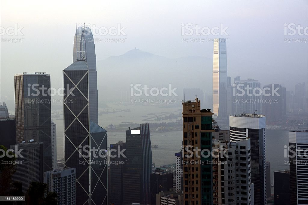 Hong Kong cityscape from Victoria peak at sunset stock photo