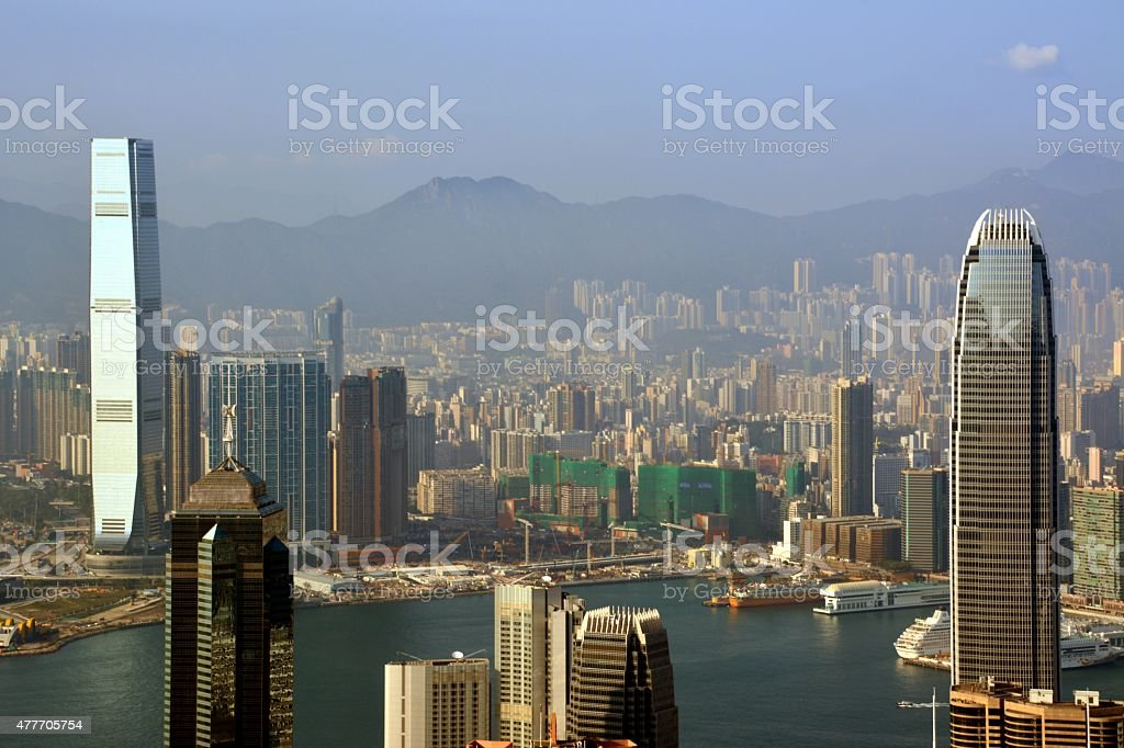 Hong Kong cityscape from Victoria peak stock photo