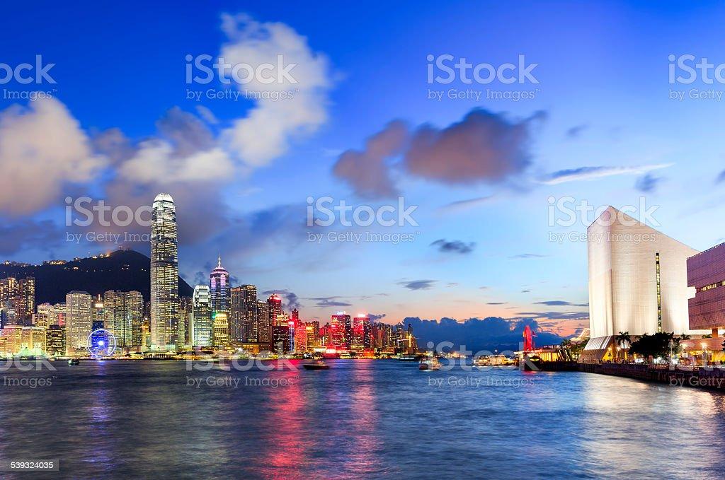 Hong Kong Cityscape in Magic Hour stock photo