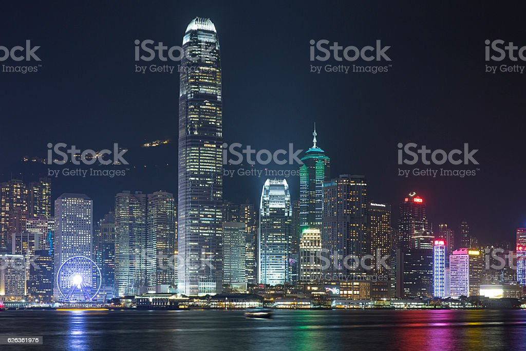 Hong Kong cityscape night view stock photo