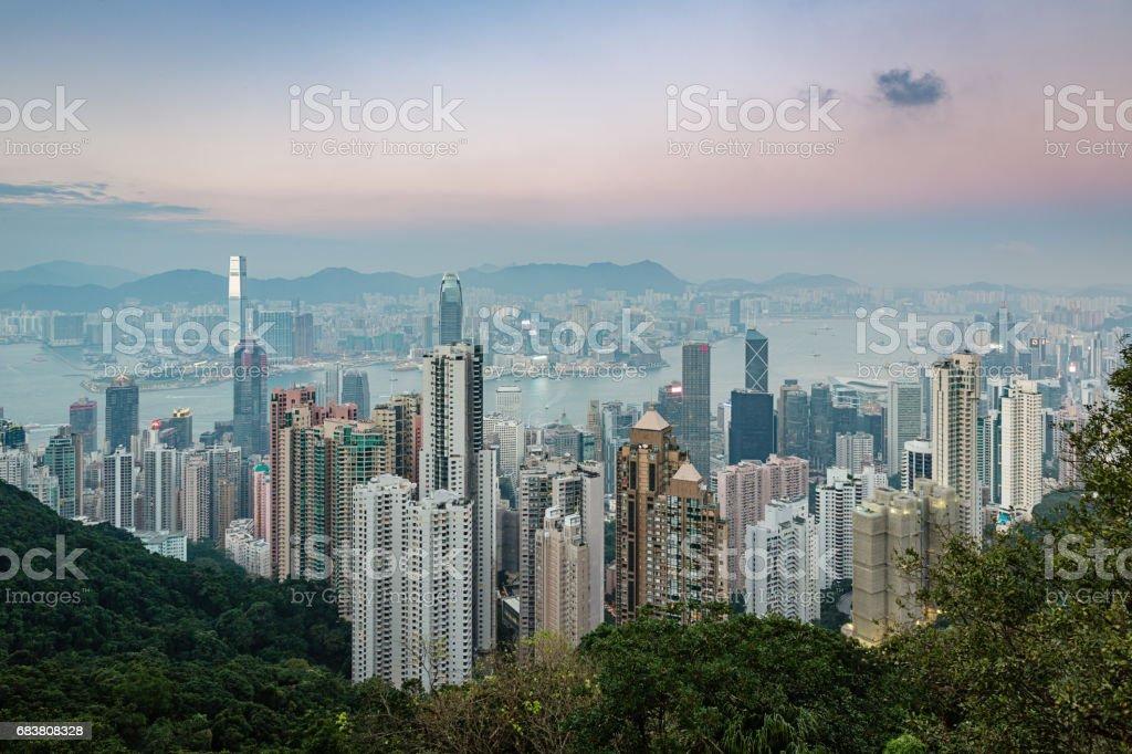 Hong Kong Cityscape Twilight stock photo