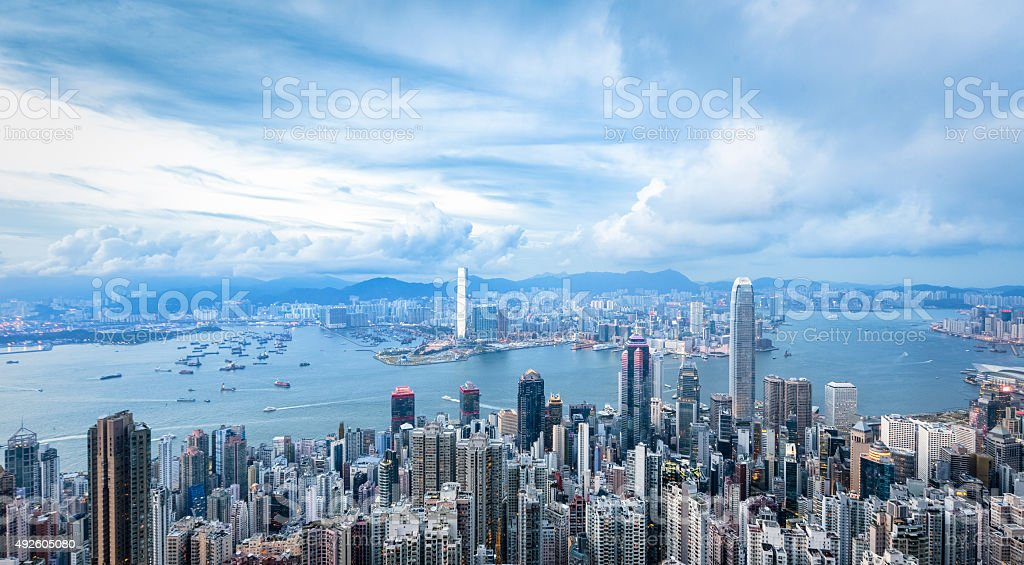 Hong Kong Cityscape with beautiful clouds stock photo
