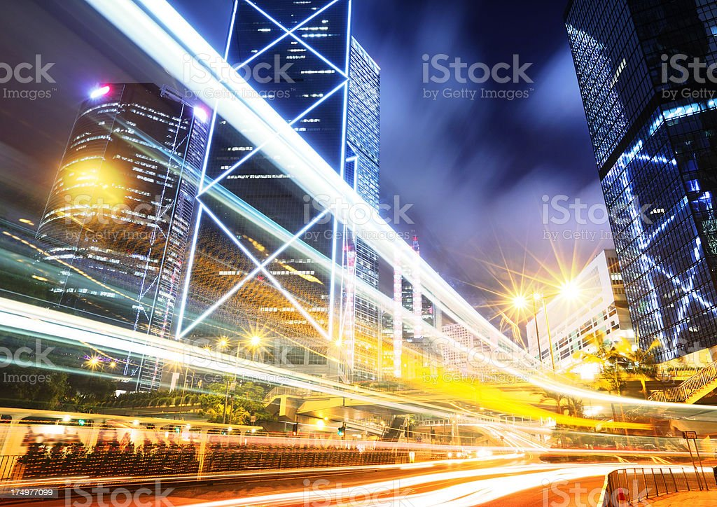 hong kong cityscape with traffic trails royalty-free stock photo
