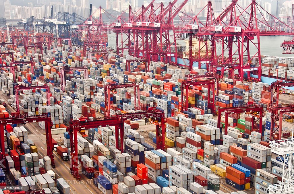 Hong Kong commercial port stock photo