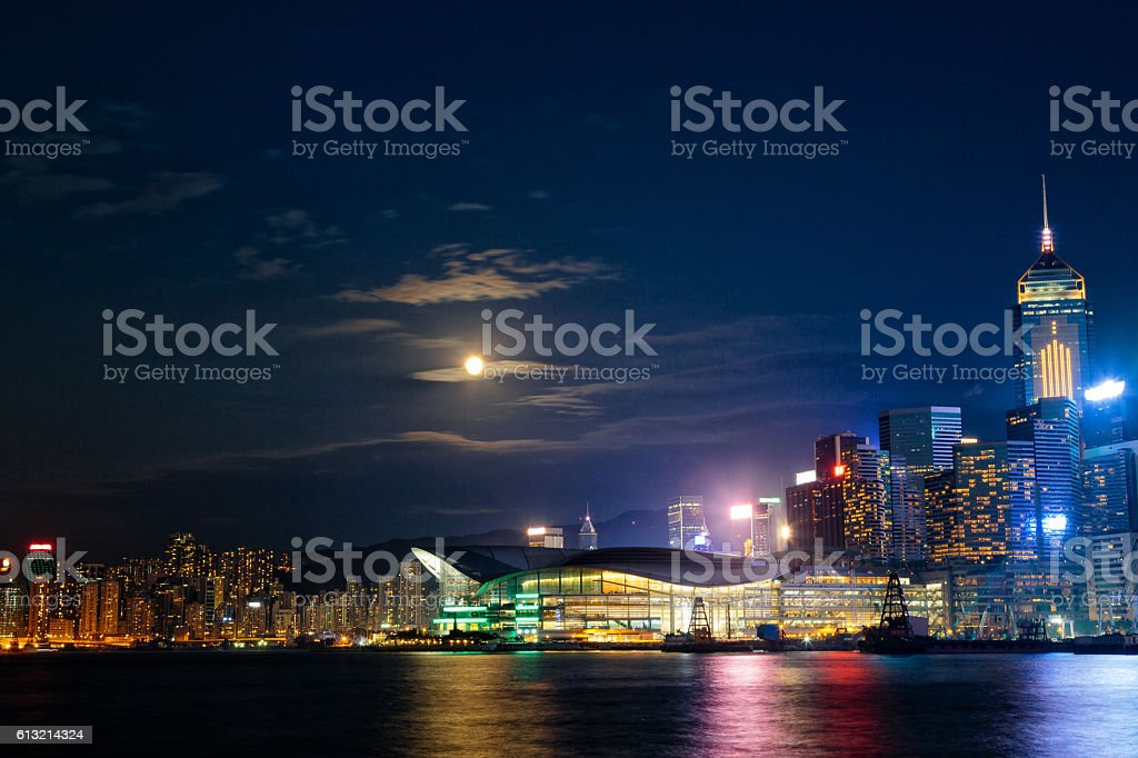 Hong Kong Convention and Exhibition Center and Skyscrapers stock photo