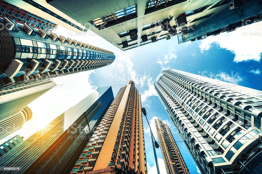 Hong Kong, Corporate Buildings stock photo