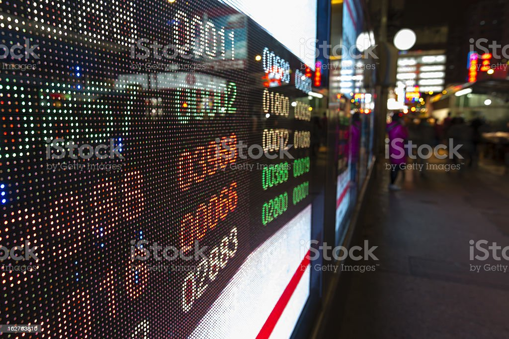 Hong Kong display stock market charts royalty-free stock photo