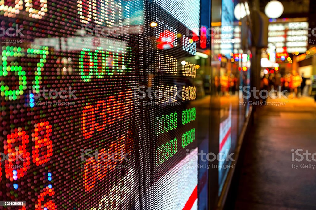 Hong Kong display stock market charts stock photo