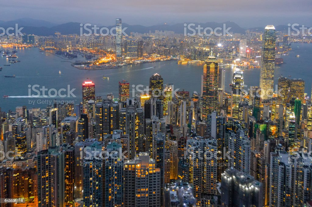 Hong Kong during sunset stock photo