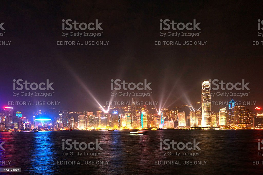 Hong Kong famous Laser harber Show seen from Kowloon royalty-free stock photo