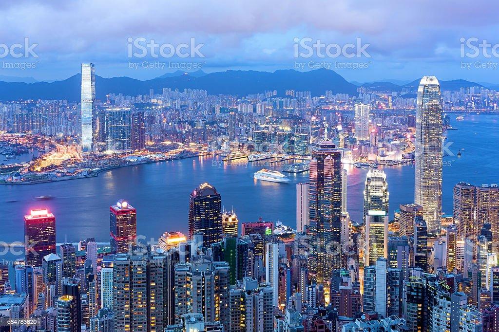 Hong Kong Famous Night View stock photo