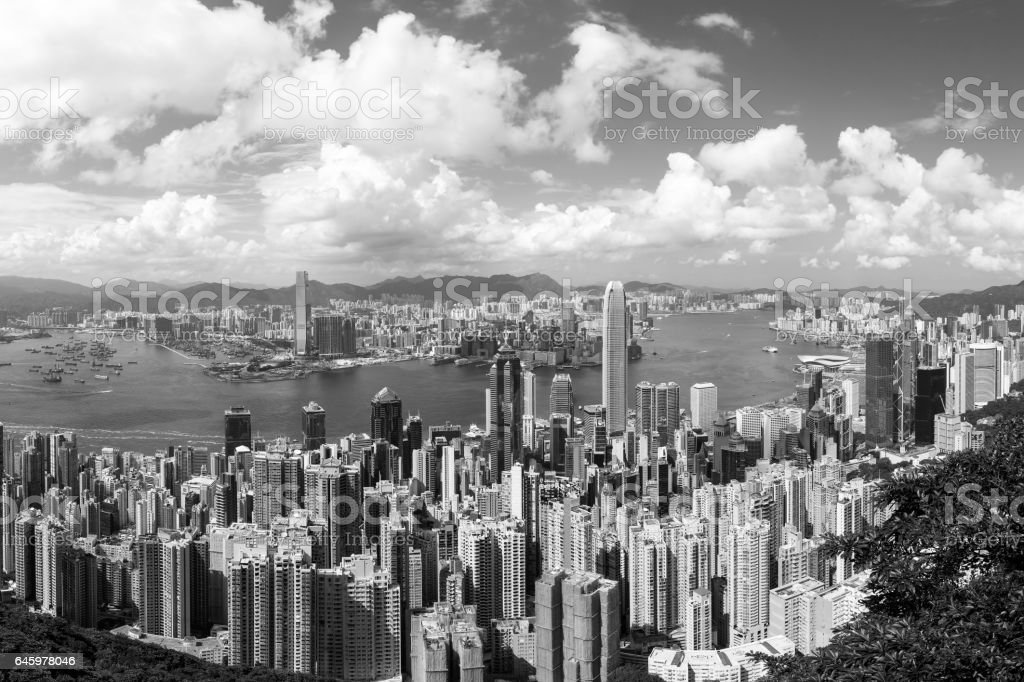 Hong Kong famous view (Black and White) stock photo