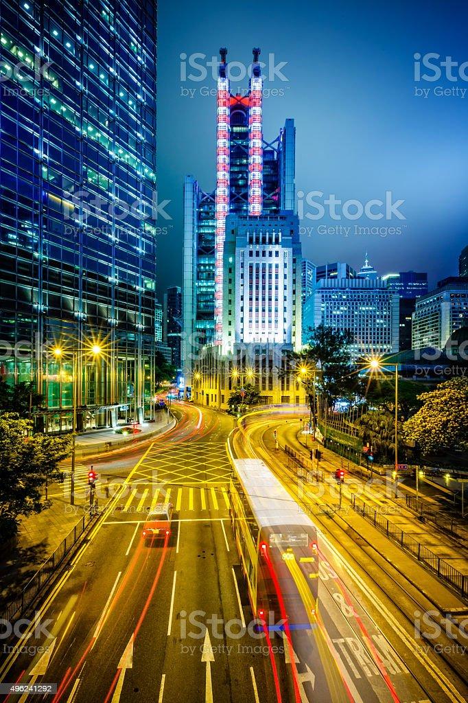 Hong Kong financial district at twilight stock photo