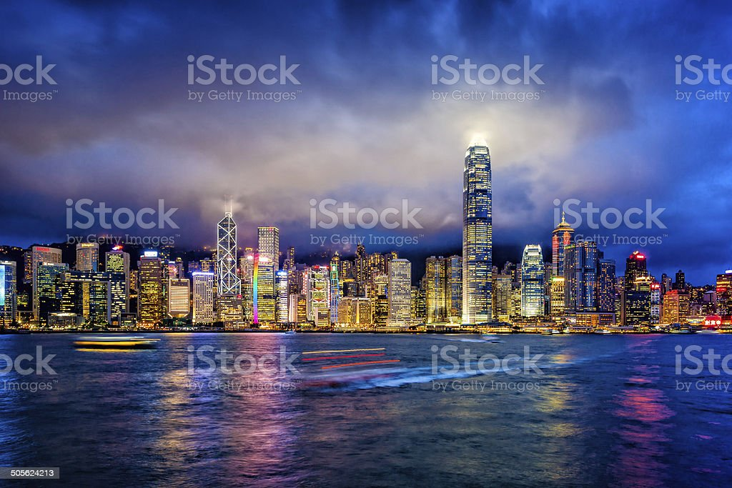 Hong Kong financial district at twilight stock photo