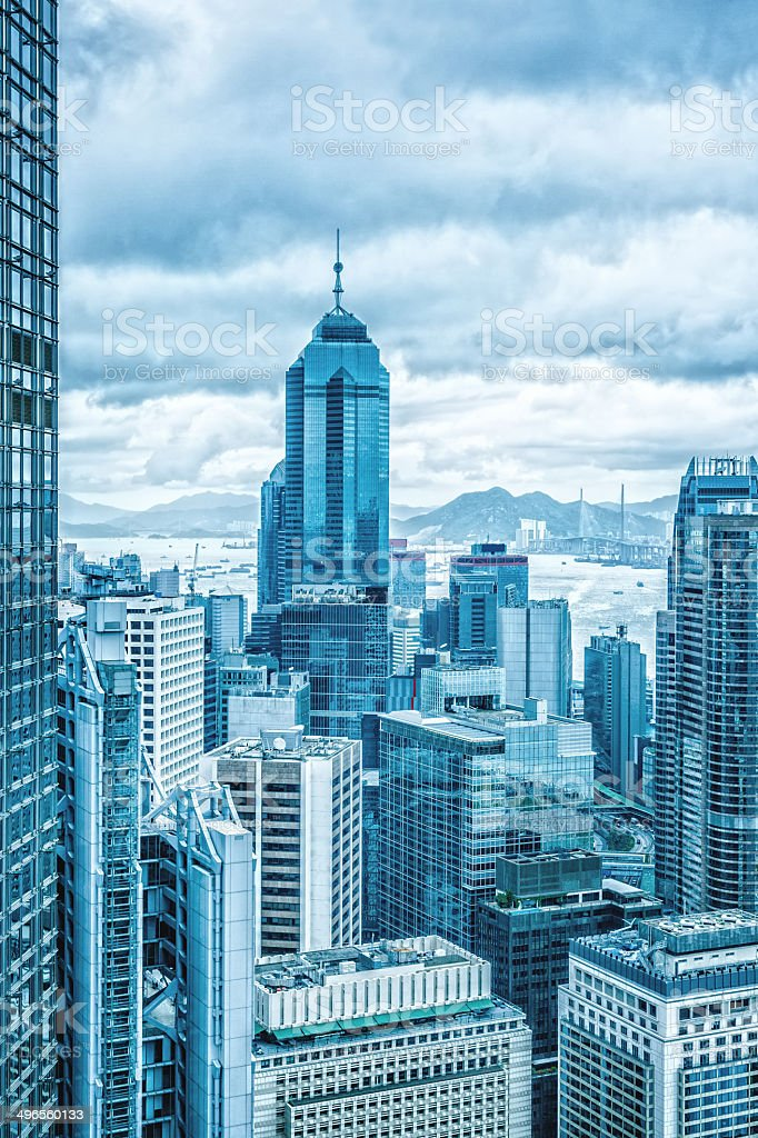 Hong Kong financial district stock photo