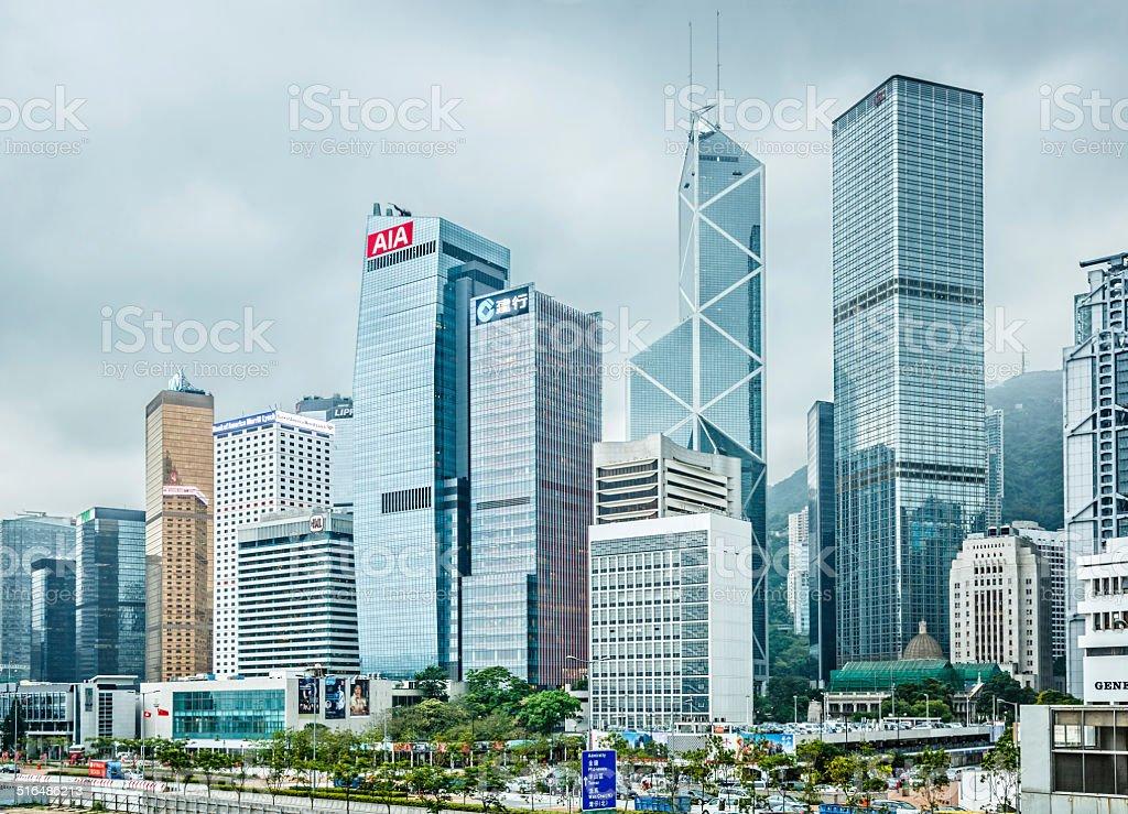 Hong Kong financial district, Victoria Harbour, Hong Kong Island stock photo