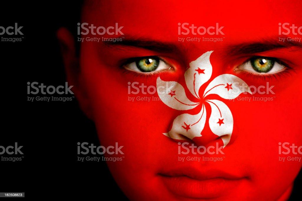 Hong Kong flag boy stock photo