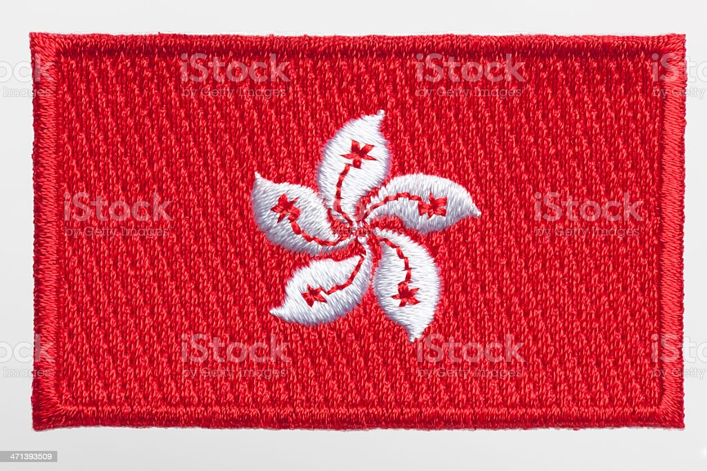 Hong Kong flag Patch. stock photo