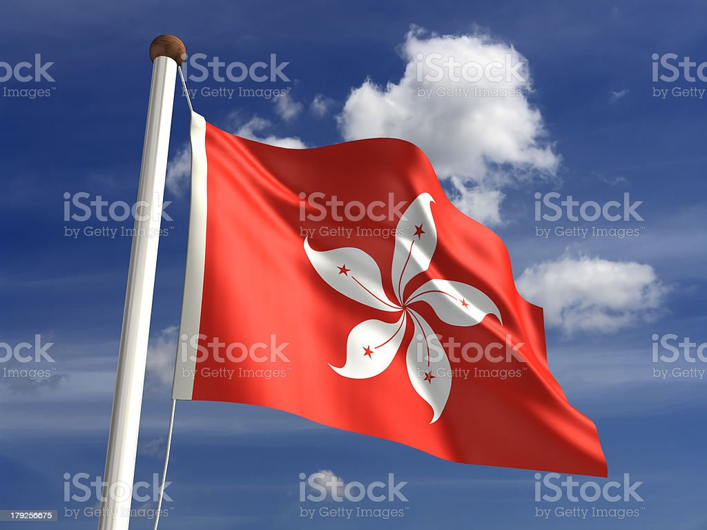 Hong Kong flag (with clipping path) stock photo