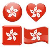 Hong Kong Flags & Icon Set