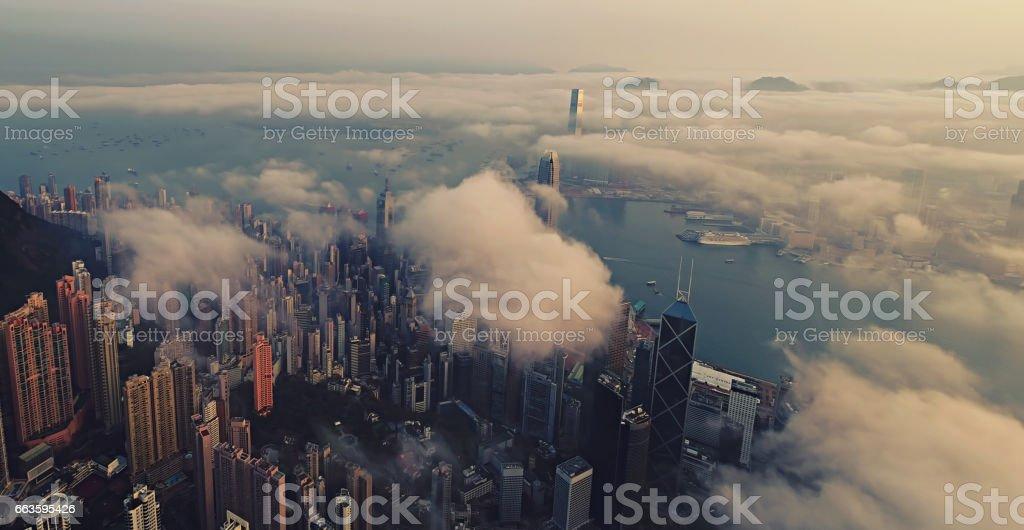 Hong Kong from air at sun rise stock photo