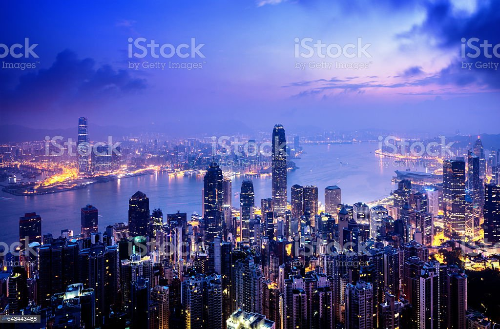 Hong Kong from the Victoria peak stock photo