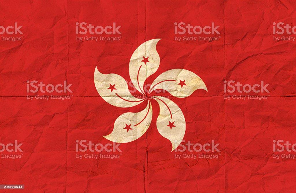 Hong Kong grunge flag stock photo