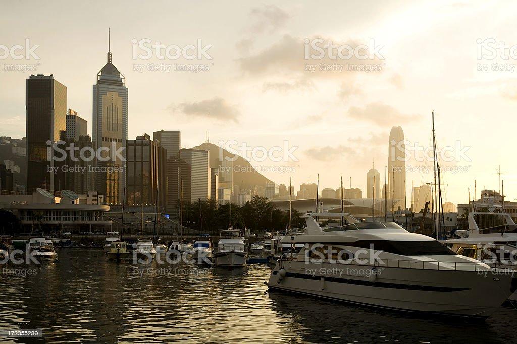 Hong Kong Harbor at Sunset royalty-free stock photo