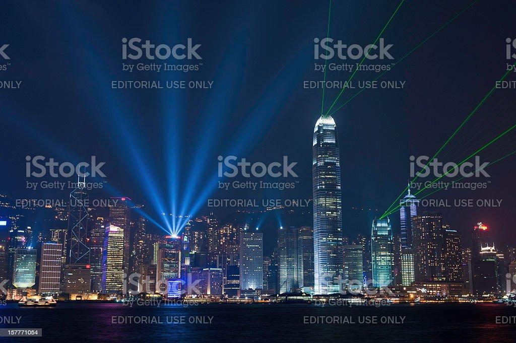 Hong Kong harbor laser light show China stock photo