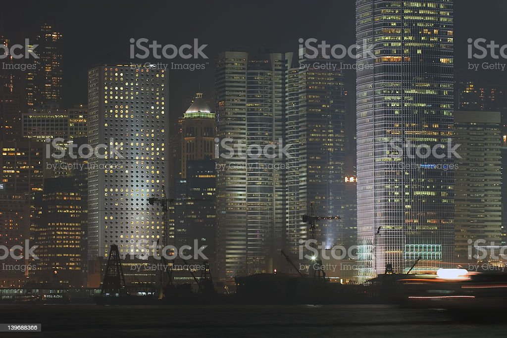 Hong Kong Harbor, Night Scene royalty-free stock photo