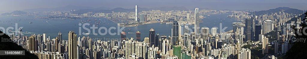 Hong Kong Harbor super panorama cityscape from Victoria Peak China royalty-free stock photo