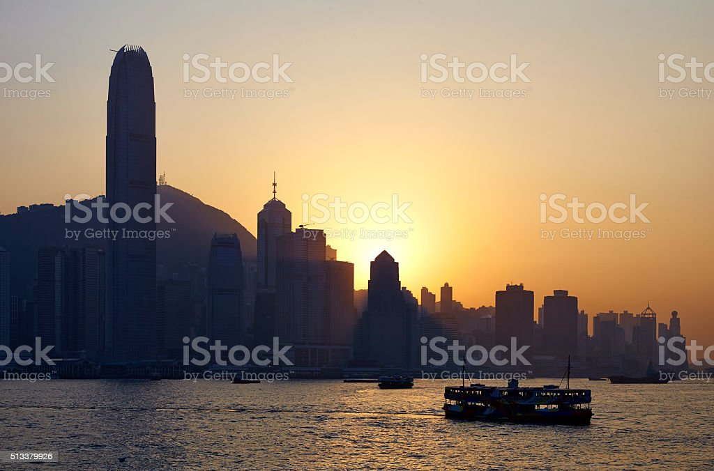 Hong Kong Harbour At Dusk stock photo