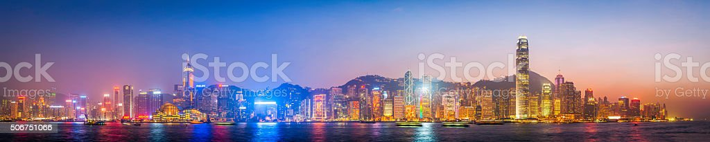 Hong Kong harbour futuristic skyscraper cityscape panorama at sunset China stock photo