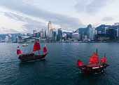 Hong Kong harbour in sunset time