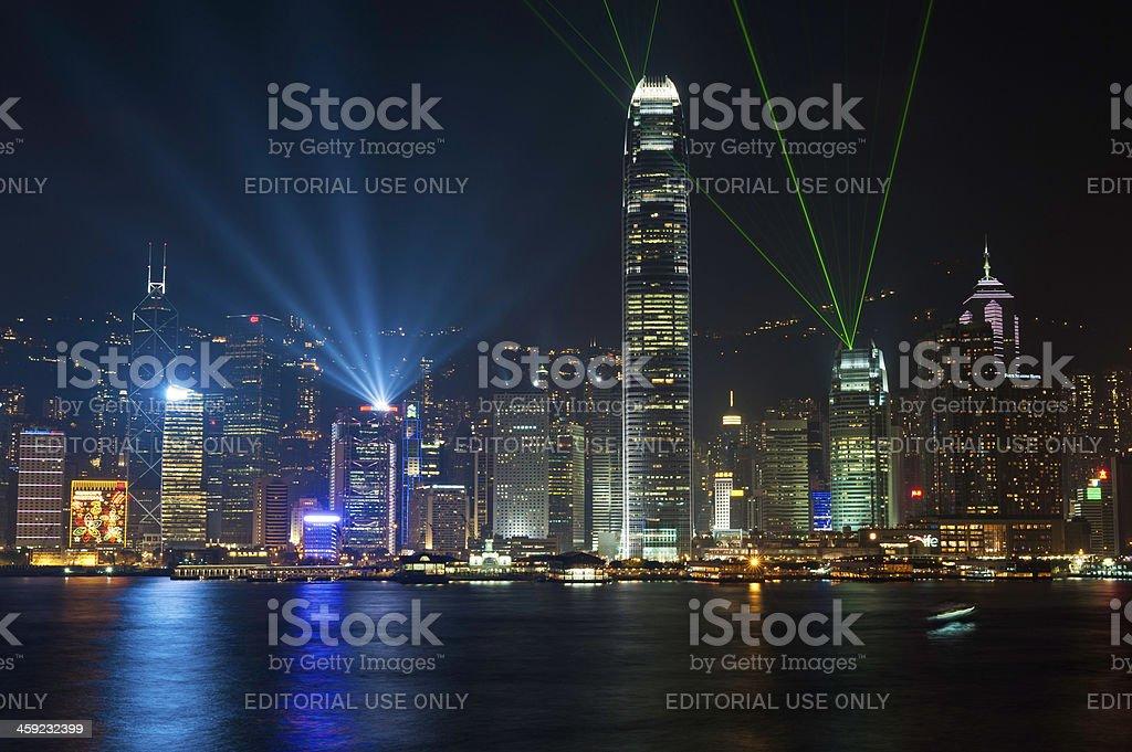 Hong Kong harbour laser light show neon night China stock photo