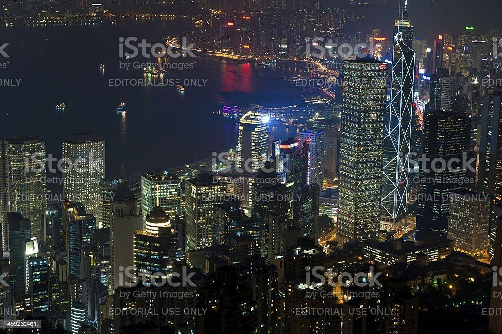 Hong Kong harbour neon night skyscrapers illuminated China stock photo