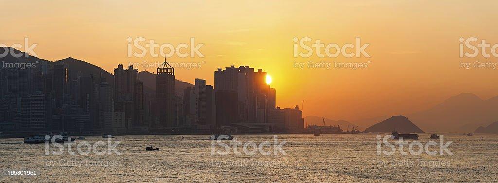 Hong Kong Harbour sunset panorama China stock photo