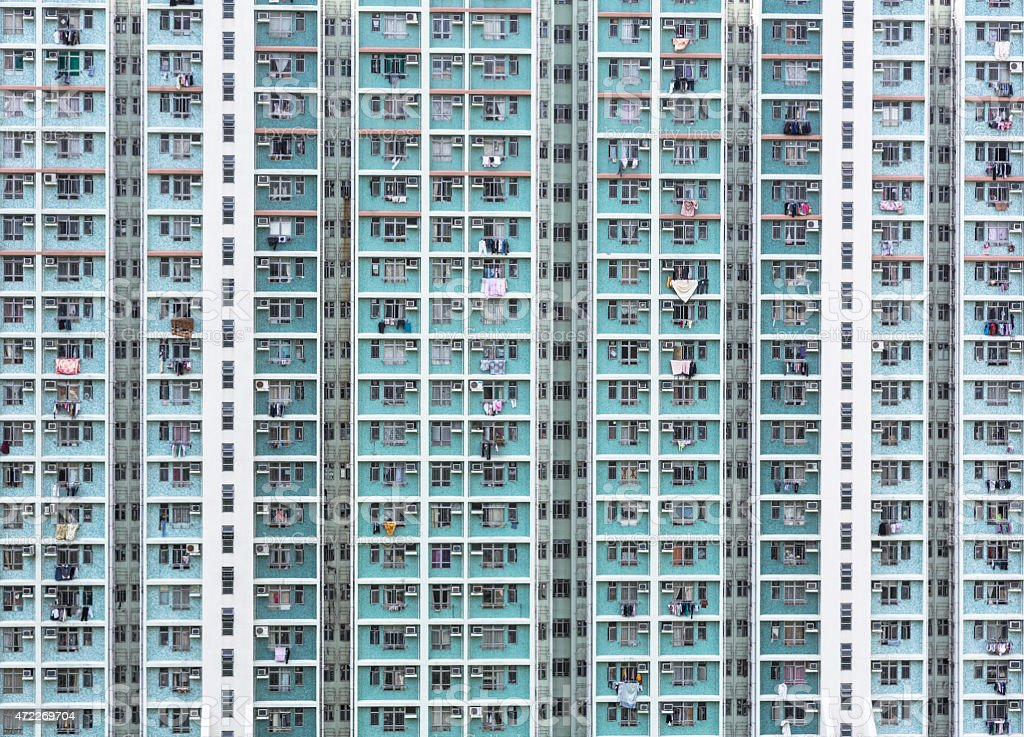 Hong Kong high density housing stock photo