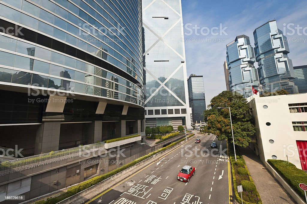 Hong Kong highrise highway streets and skyscrapers stock photo