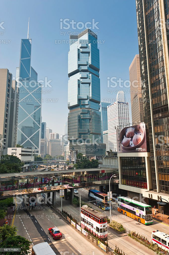 Hong Kong highway futuristic skyscrapers stock photo
