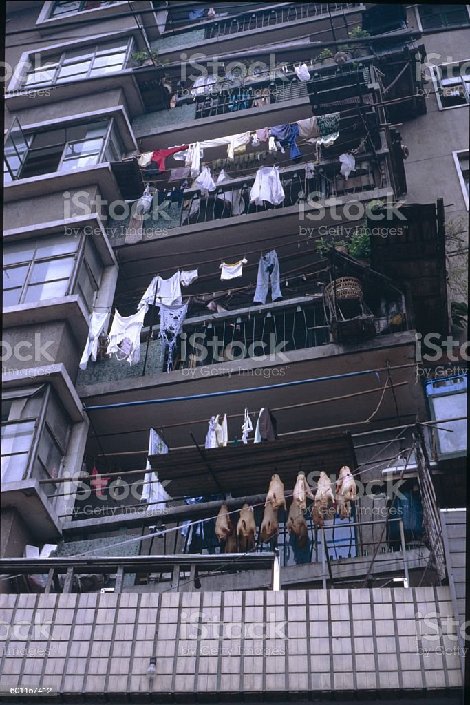 Hong Kong, house facade with ducks and laundry stock photo