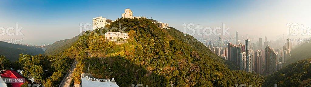 Hong Kong houses and highrises Victoria Peak landmark panorama China stock photo