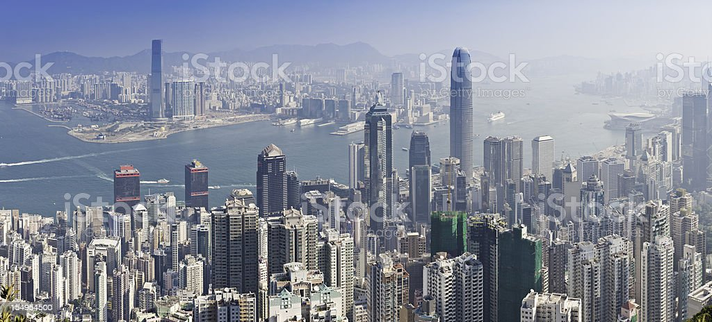 Hong Kong iconic skyscraper city crowded highrise harbour panorama China stock photo
