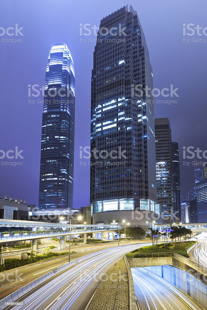 Hong Kong, IFC towers at night royalty-free stock photo