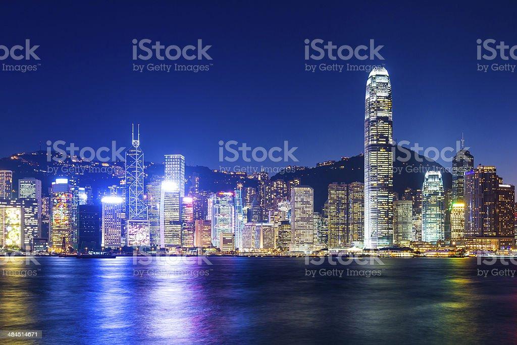 Hong Kong in night stock photo