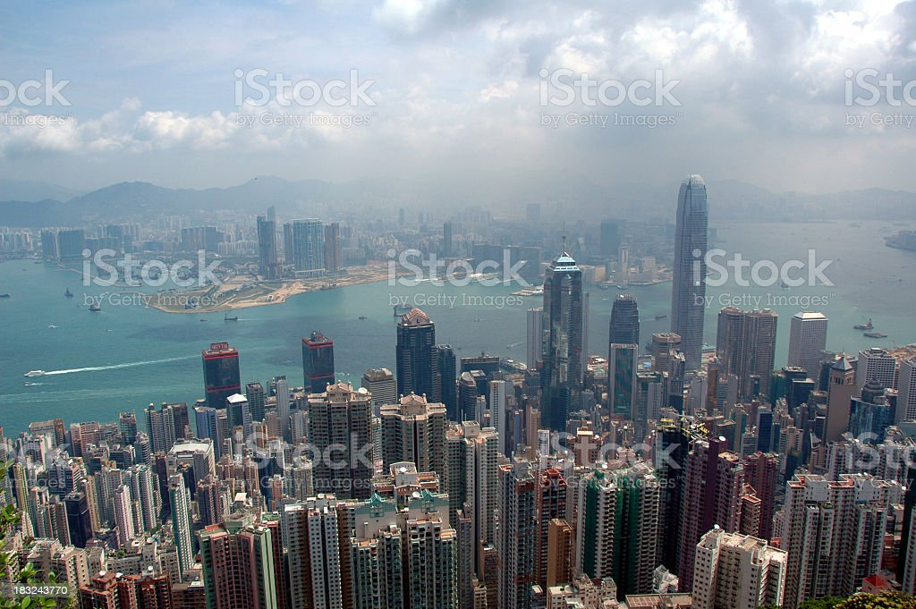 Hong Kong in Pollution royalty-free stock photo