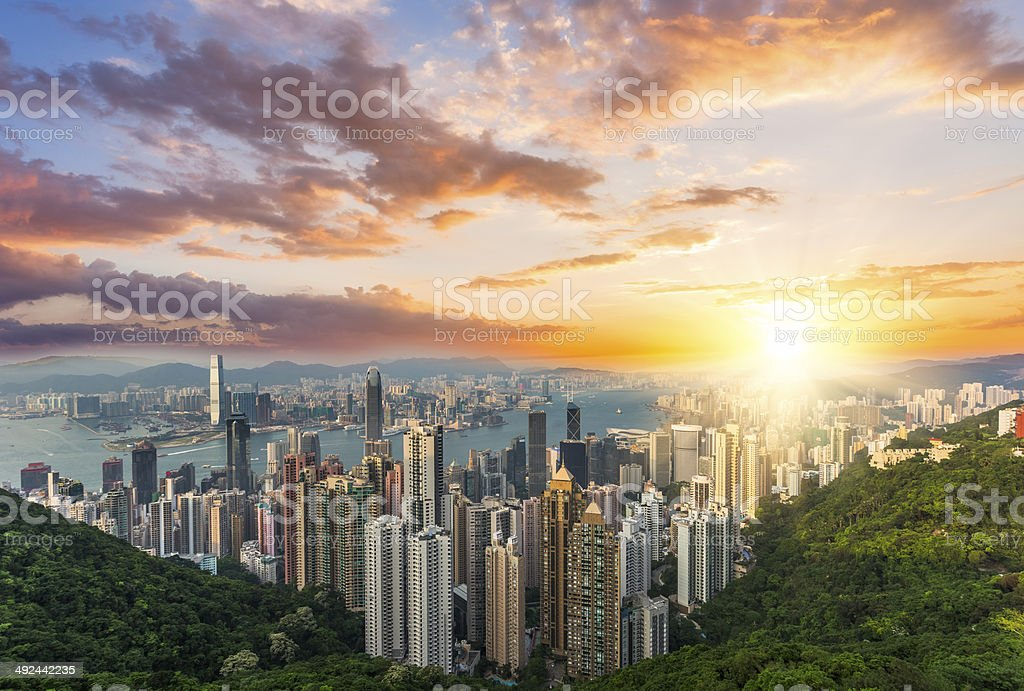 hong kong in sunset stock photo