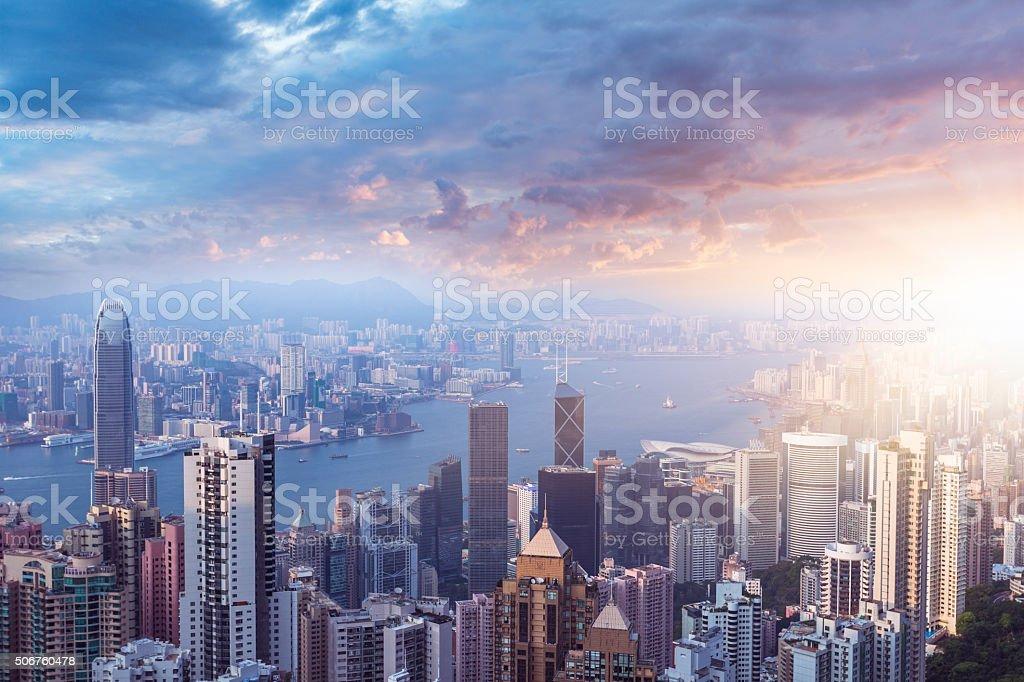 hong kong in sunset stock photo